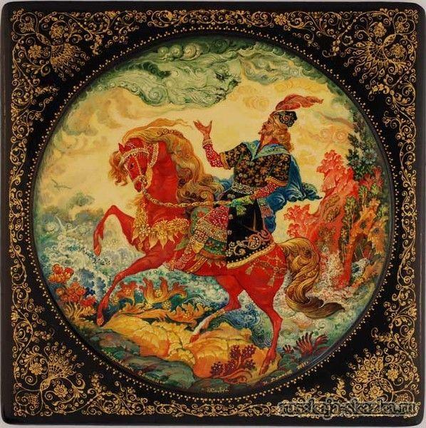 """""""Сказка о мертвой царевне и о семи богатырях"""", Пушкин А.С. http://russkaja-skazka.ru/skazka-o-mertvoy-carevne-i-o-semi-bogatyiryah/ «Ветер, ветер! Ты могуч, ты гоняешь стаи туч, ты волнуешь сине море, всюду веешь на просторе. Не боишься никого, кроме бога одного. Аль откажешь мне в ответе? Не видал ли где на свете ты царевны молодой? Я жених ее».— «Постой,— Отвечает ветер буйный,— Там за речкой тихоструйной есть высокая гора, в ней глубокая нора; В той норе, во тьме печальной, гроб качается…"""