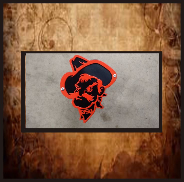 OSU Pistol pete head Oklahoma state cowboys plasma metal art.  Receiver hitch cover. by metalartbyus on Etsy https://www.etsy.com/listing/493717821/osu-pistol-pete-head-oklahoma-state