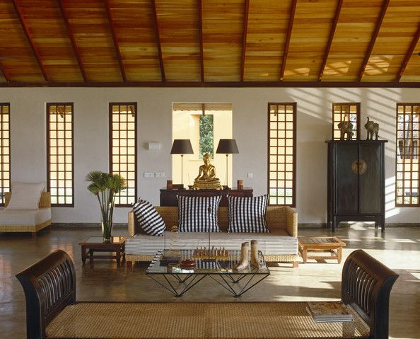 Asian Tropical Living Room. Love the low sofa and the textures in the room. I would prefer stripes than plaid. Very natural feel to the room.