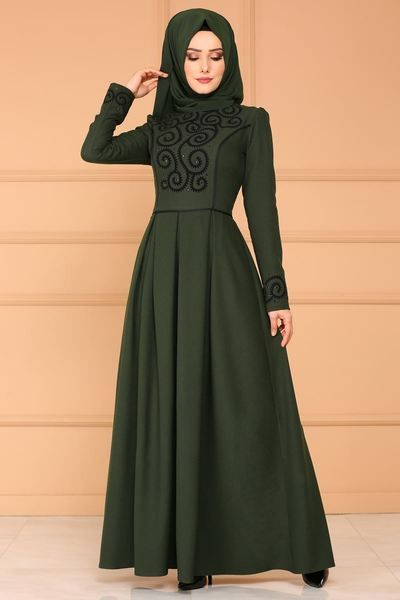 Modaselvim Elbise Flok Baskili Pileli Elbise Asm2120 Haki Model Pakaian Ilustrasi Model Pakaian Gaun