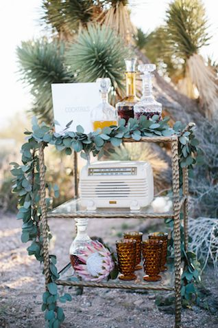 Wedding bar cart   M. Felt Photography   see more on: http://burnettsboards.com/2015/11/mid-century-modern-southwestern-wedding/
