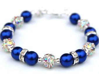 Bígaro azul Pervinca Bling pulsera las pulseras por AMIdesigns