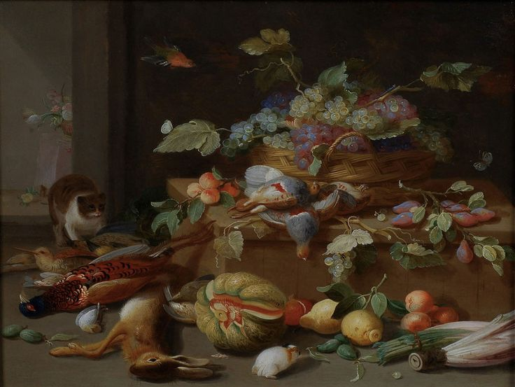Jan van Kessel padre (Amberes, 1626-1679). Still life of a basket with grapes, game, cat and guinea-pig.: