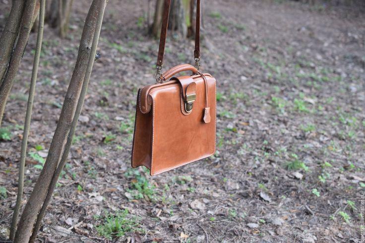 Купить Кожаный Портфель - Саквояж ручной работы - коричневый, саквояж кожаный, саквояж из кожи