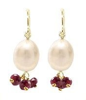 Very Berry Fresh Water Pearl and Semi-Precious Stone Earrings - Garnet Maggie T New York