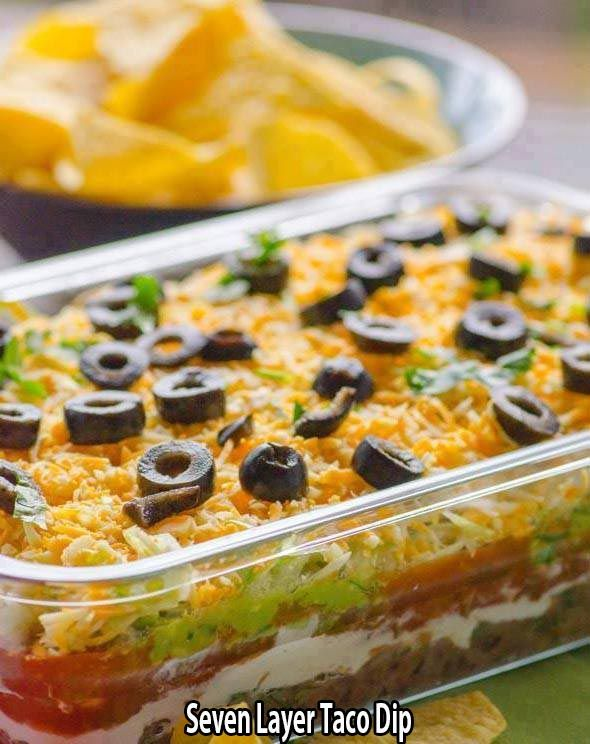 Ingredients 16ounces Refried Beans 1 1 1 4 Ounce Package Taco Seasoning 1cup Sour Cream Layered Dip Recipes Layered Taco Dip Seven Layer Taco Dip
