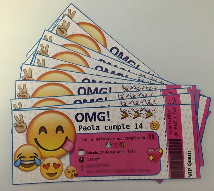 Emoji ticket style invitations