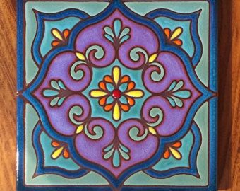 6 x 6 Mandala mano esmaltado azulejo de arte decorativo