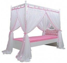 Hemelbed roze voor de prinsessenkamer met een luxe hoofdbord met kroon! Ook als twijfelaarsbed. By MM Store