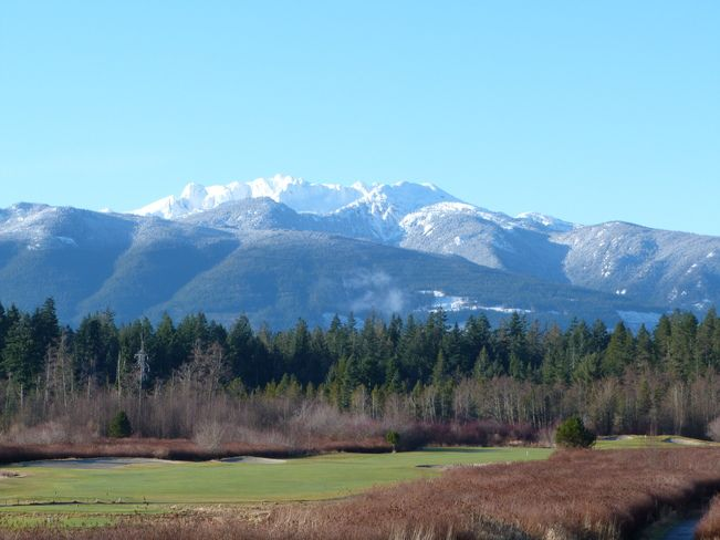 This is the par 5 first hole at Pheasant Golf Resort in Qualicum Beach, BC with majestic Mount Arrowsmith in the background (Vancouver Island).