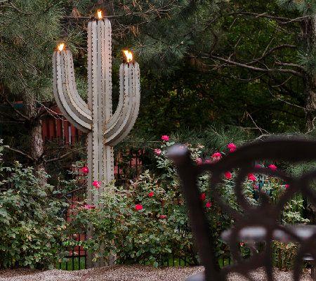 Desert Steel 6.5 Saguaro Garden Cactus Statueand Tiki Torch