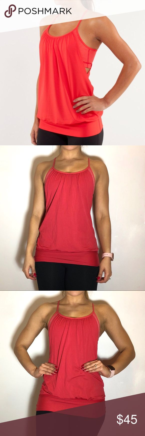 Lululemon No Limits Tank Lululemon No Limits Tank in Love Red. -Size 4. -Color is more of a burnt orange. -Fabric: Luon, circle mesh. -Great condition. Lululemon logo is cracking a bit, some yellowing on bra band.  NO Trades. Please make all offers through offer button. lululemon athletica Tops Tank Tops