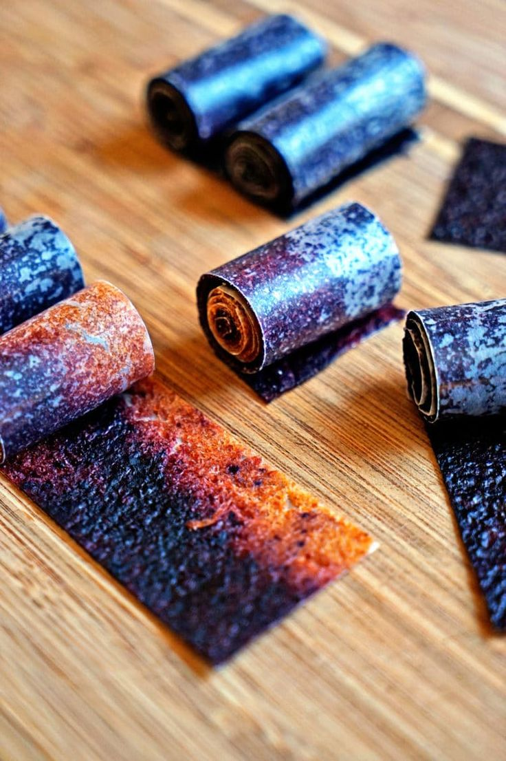 These homemade Nectarine Blueberry fruit roll ups are easy to make and are super economical. You basically are dehydrating your fruit purée mixtures...