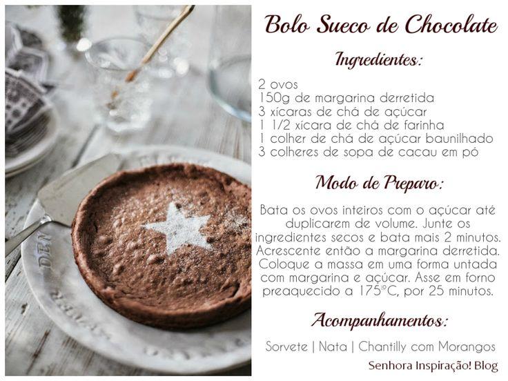 Bolo Sueco de Chocolate #SenhoraInspiracao