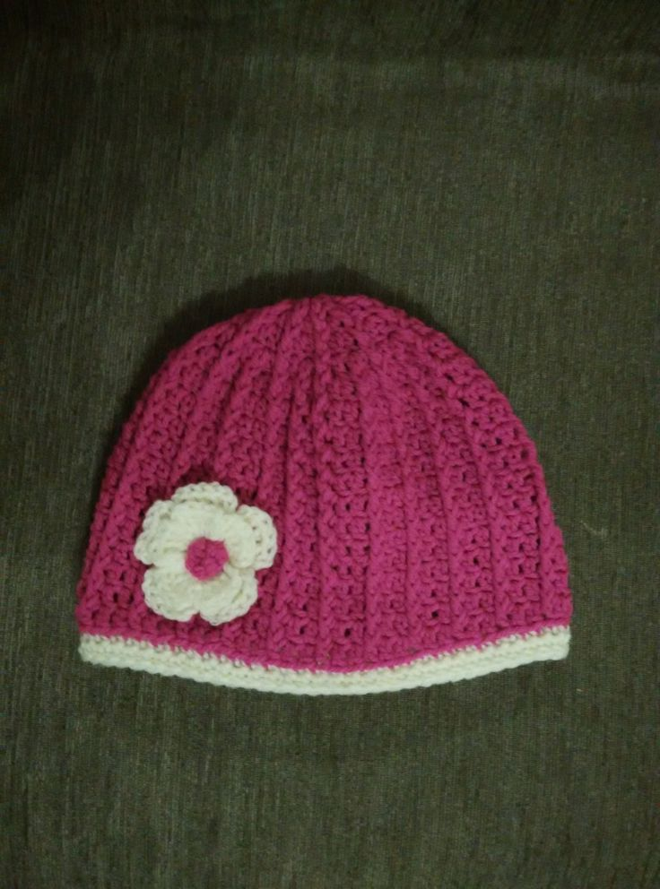 crochet striped beanie in fuchsia and creme, woman size, crocheted flower by yrozaf on Etsy