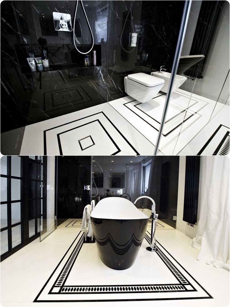 @imarpolska Przedsiębiorstwo Kamieniarskie: Elegancka czarno-biała łazienka wykonana z marmuru Nero Marquina oraz konglomeratu kwarcowego @technistone Crystal Absolute White. / Elegant black&white bathroom made of marble #NeroMarquina and #Technistone quartz agglomerate #CrystalAbsoluteWhite.