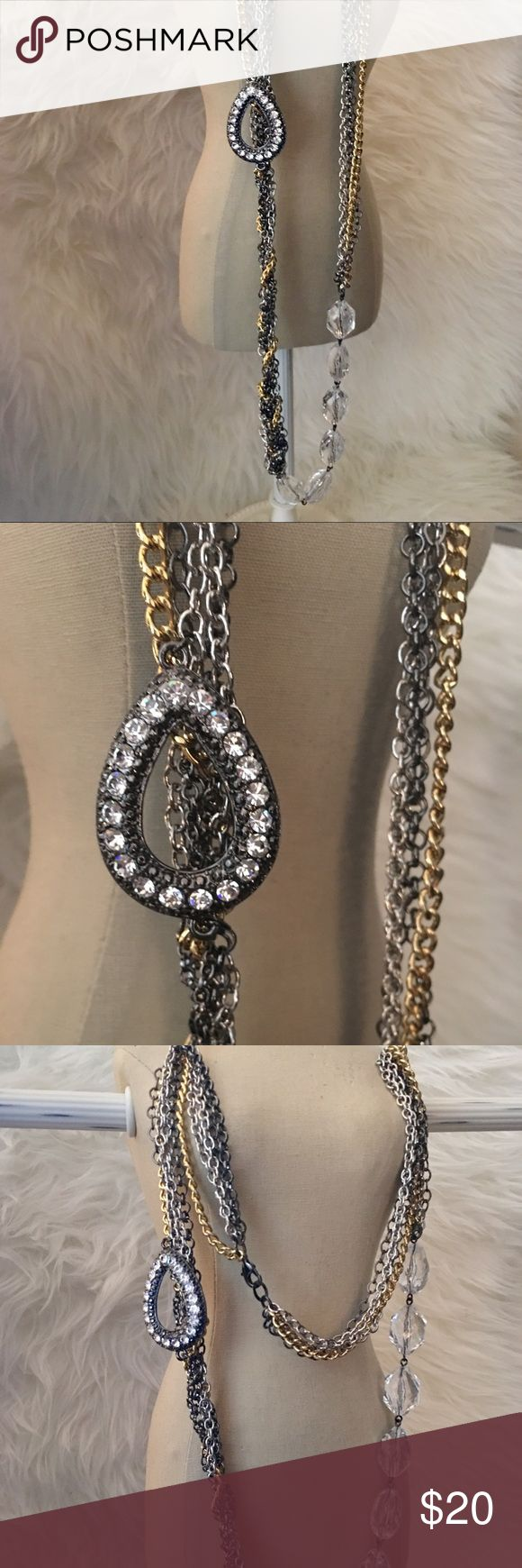 Gold/Silver/Gunmetal/Rhnstns Long Necklace *N/WOT* Gold/Silver/Gunmetal/Rhinestone Long Necklace *N/WOT* Beautiful necklace! No signs of wear, in great condition. Please see photos. Nordstrom Jewelry Necklaces
