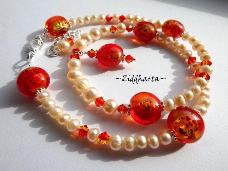 FireOpal Freshwaterpearl and Swarovski Crystals Necklace - Handmade beaded Jewelry and Beading by Ziddharta by Ziddharta on Etsy