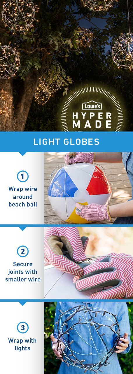 Make a big statement with just a few simple household supplies. Click the image for instructions on how to turn wire into wonder with these DIY outdoor light globes.