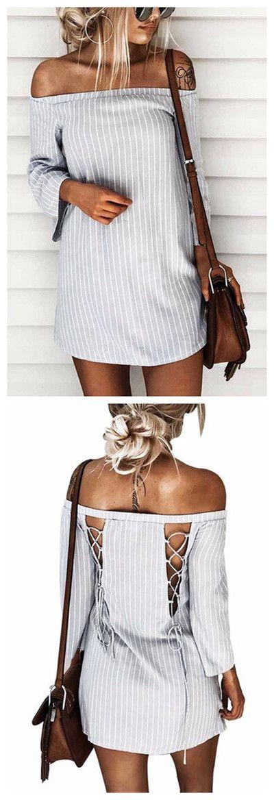 Sexy Off Shoulder Lace Up Stripe Patern Mini dress