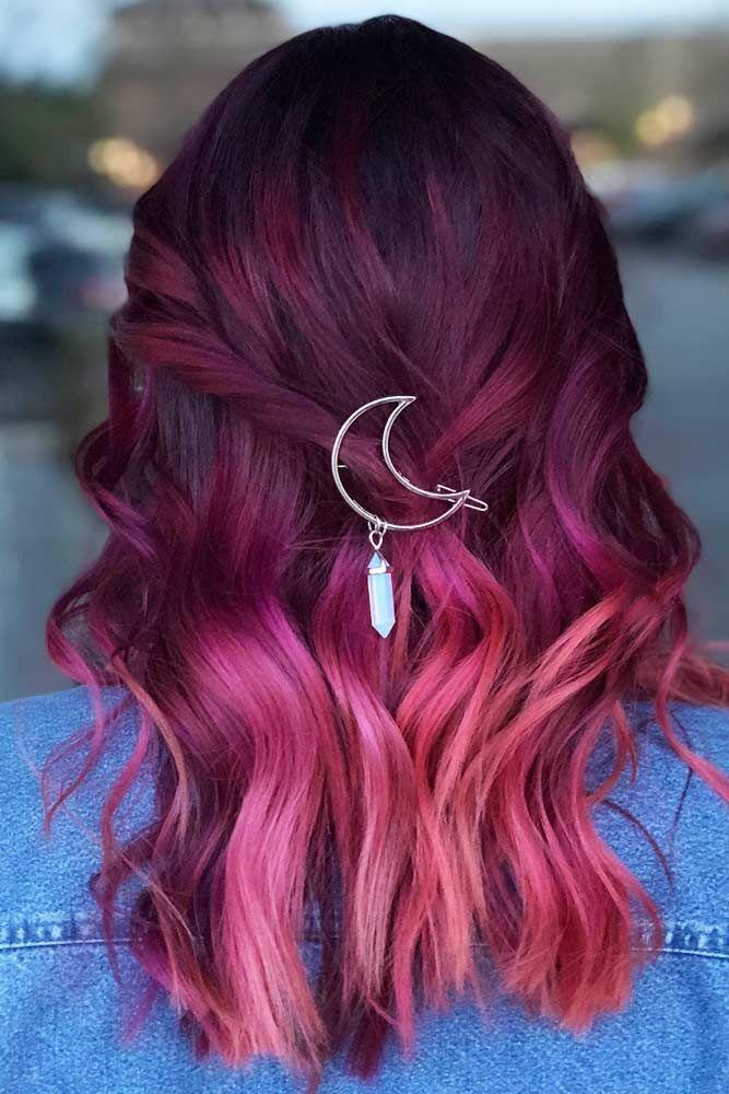 Coloration Cheveux Rouge Rose Bordeaux Estilos De Cabelo Colorido Cabelo Colorido Cabelos Pintados