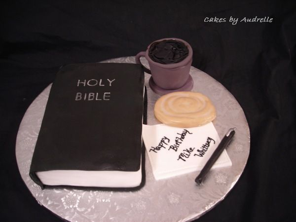 "Pinner said ""I did this cake for a pastor's anniversary.  It's based on a cake that another CC member, MARIPRINCESA, did, but instead of a donut, I did a honeybun and I added a pen to the cakeboard.  My coffee cup is kind of shakey, but it came okay.    The coffee mug is RKT covered in fondant, the honeybun, napkin and pen are fondant.  The bible is cake covered in fondant."""
