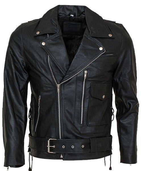Slim-Fit Belted Biker Leather Jacket For Men Latest Fashionable Style Black Leather Rider Jacket At Leather Jacket UK.