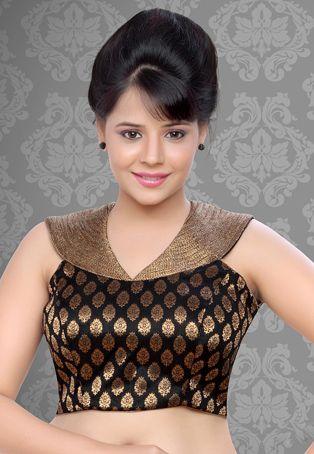 Utsav Fashion : black-brocade-readymade-blouse
