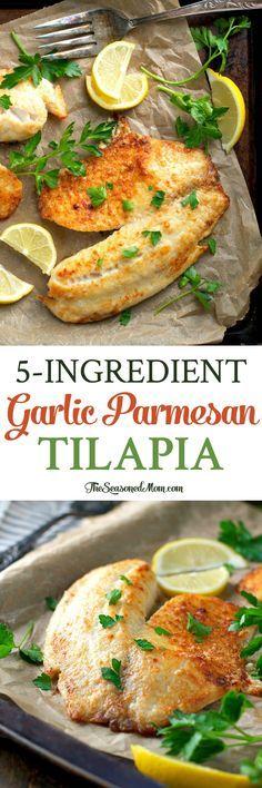 Con tan sólo 5 minutos de preparación y 5 ingredientes simples, esto ajo parmesano tilapia es una cena fácil y saludable para los días de semana ocupados!