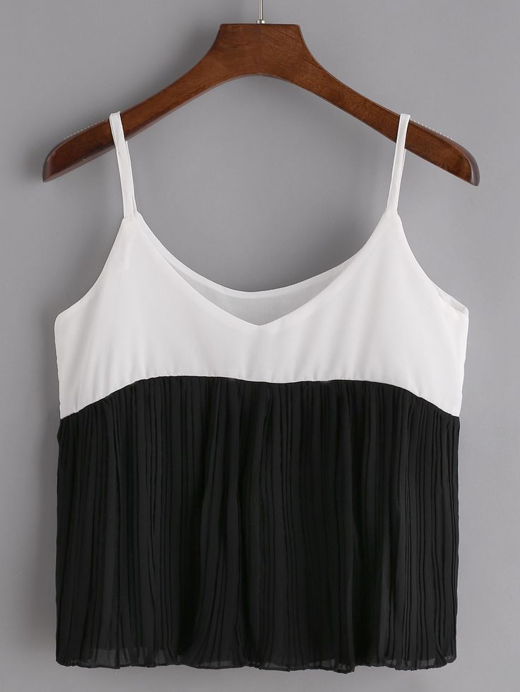 Shop Contrast Pleated Hem Chiffon Cami Top online. SheIn offers Contrast Pleated Hem Chiffon Cami Top & more to fit your fashionable needs.