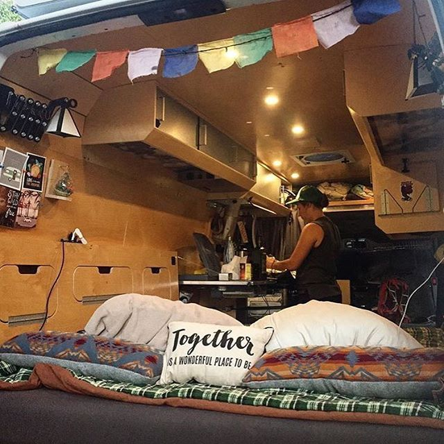 Bedside cubbies and some homey decor in @making_it_there's Sprinter Van  Show off your Sprinter Van! Tag your pics #sprintercampervans to be featured  Regram via @sprintercampervans