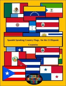 Hispanic flags for the 21 Spanish-speaking countries in 2 sizes, large and mini (7x10 and 1x1.5 inches).  Also included are black and white color by number flags (with the colors in Spanish) and a suggested song activity having to do with flags.  Want more?