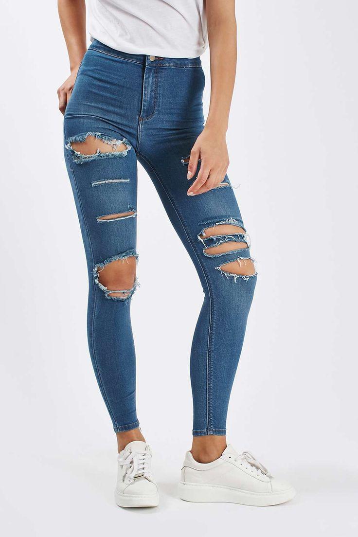 MOTO Super Rip Blue Joni Jeans - Topshop