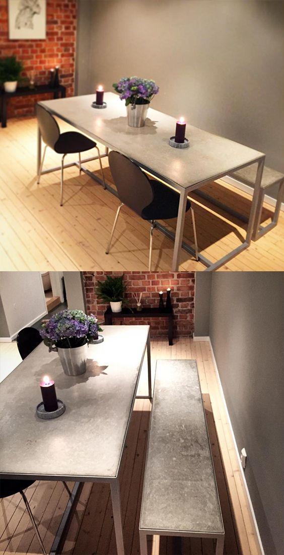 Spisebord og benk i stål og betong - håndlaget av oss.