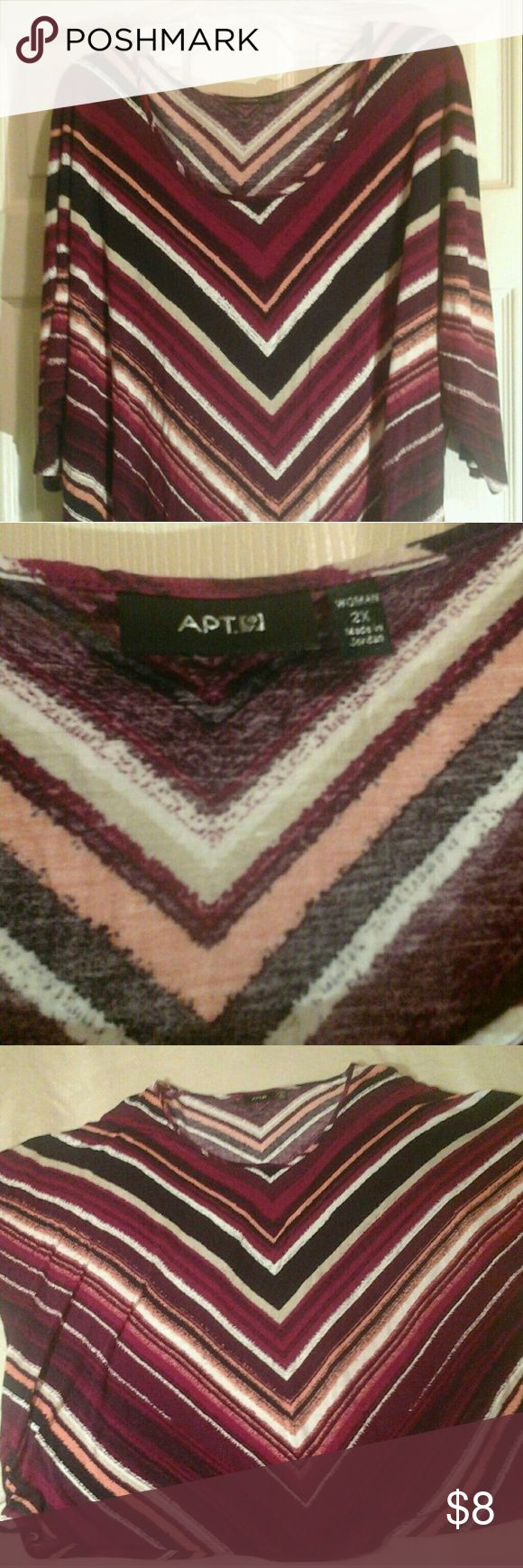 Apt 9 Chevron Batwing Top 2X CHEVRON STRIPS IN VARYING SHADES OF PURPLE AND WHITE?  BATWING SLEEVES?  APT 9?  SIZE 2X?  3/4 SLEEVE?  100% RAYON?  SUPER SOFT?  STRETCHY?  ARMPIT TO ARMPIT 30 INCHES, BUT IT IS BATWING?  SHOULDER TO BOTTOM 24 INCHES? Apt. 9 Tops Tees - Long Sleeve