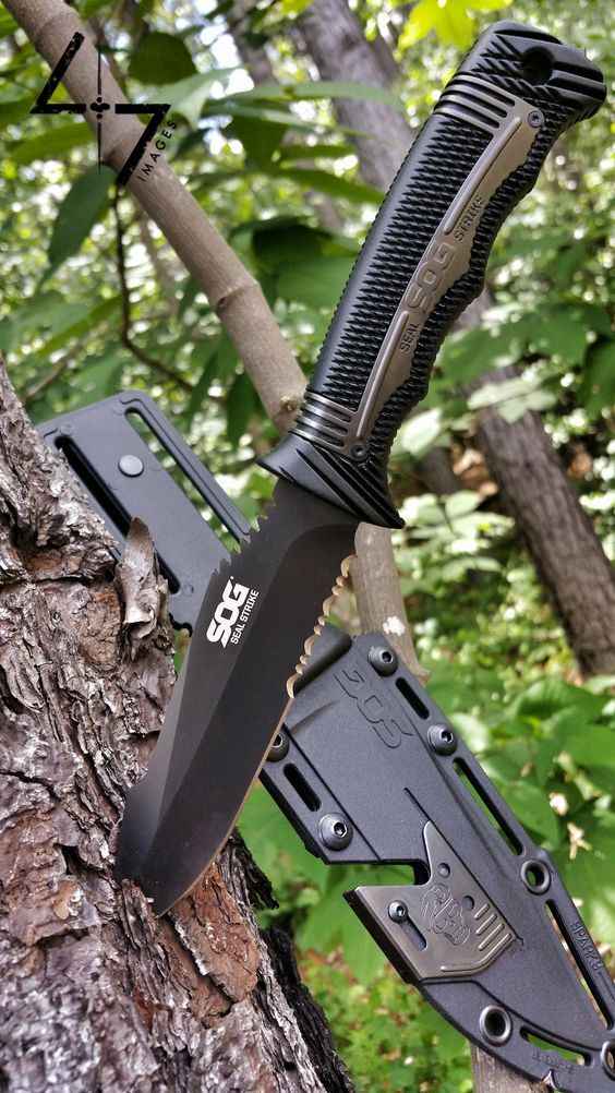 SOG Specialty Knives & Tools SEAL Strike Fixed Blade Outdoor Tactical Knife, 4.9-inch Blade - Everyday Carry Gear