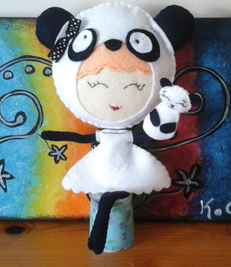 Lady Panda Bear. Felt doll. With a little panda bear hand puppet. by craftoholicsoul on Etsy
