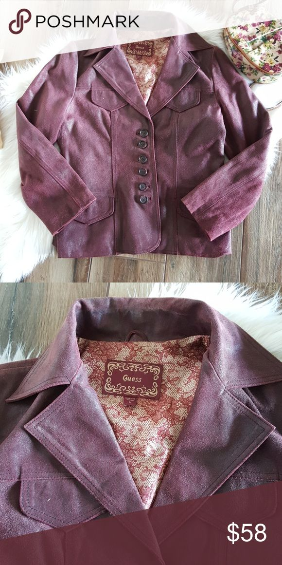 GUESS leather Coat Size LG. Fits like a large.  Plum colored oil treated leather Coat 6 button Euc, worn well but gently. No issues. Guess Jackets & Coats
