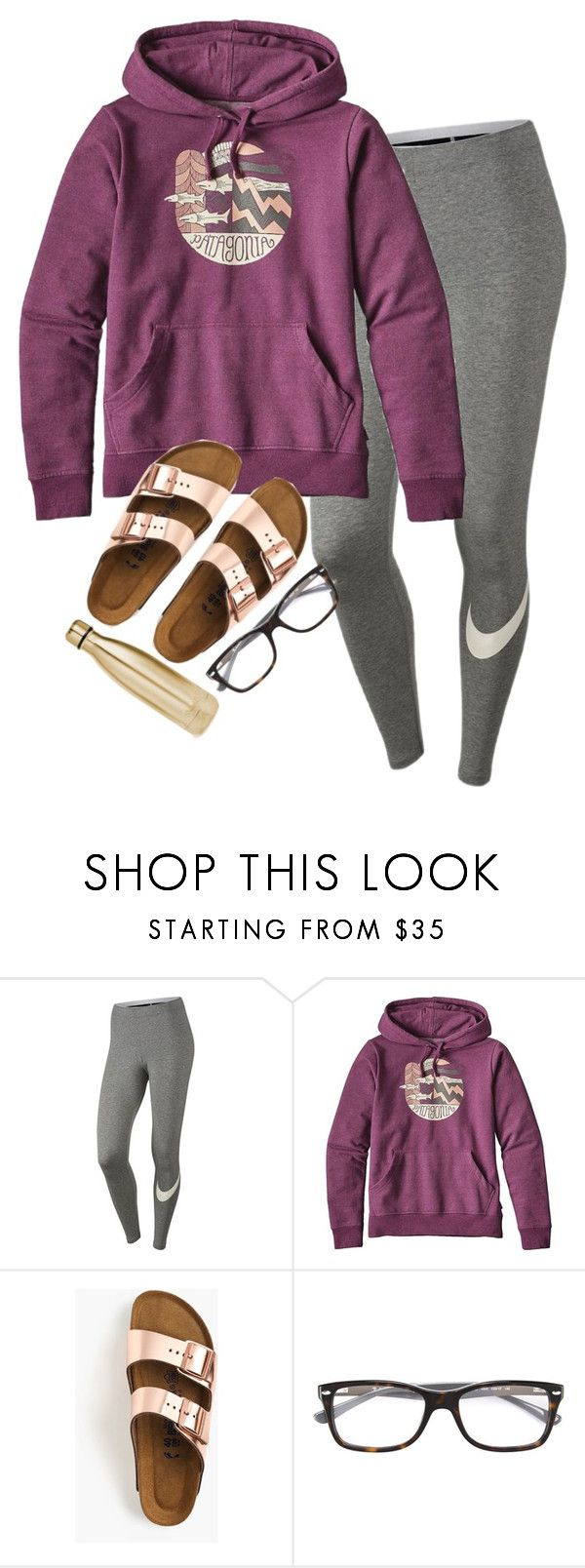 """""""play that song"""" by legitimately-kierstin ❤ liked on Polyvore featuring NIKE, Patagonia, Birkenstock, Ray-Ban and S'well"""