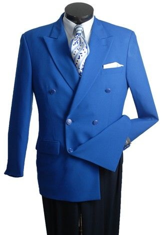 Vittorio Double Breasted Royal Blue Blazer Size 56L Final Sale