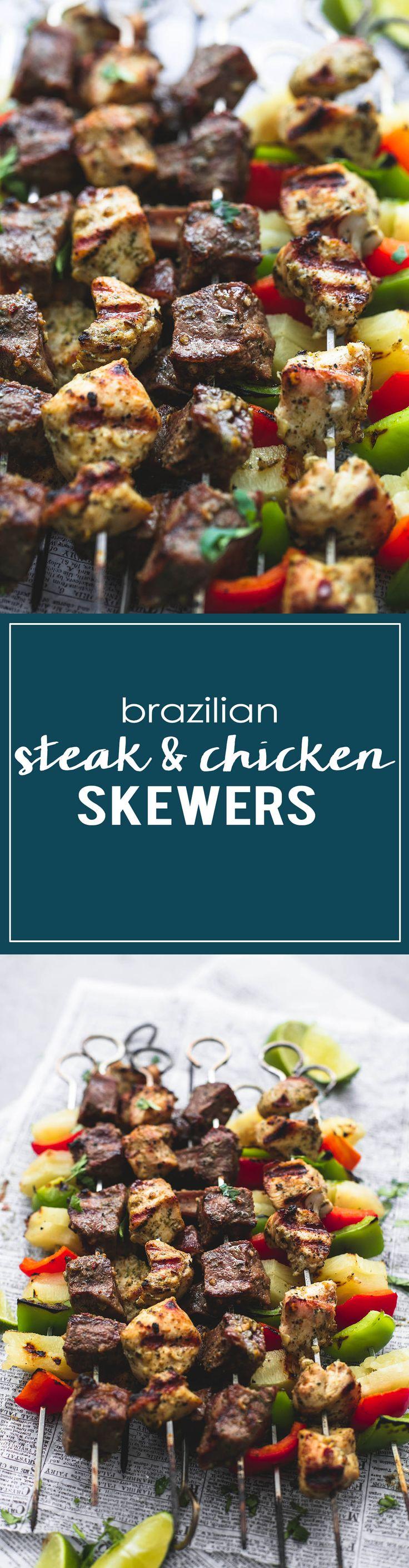Brazilian Steak & Chicken Pineapple Kabobs | lecremedelacrumb.com