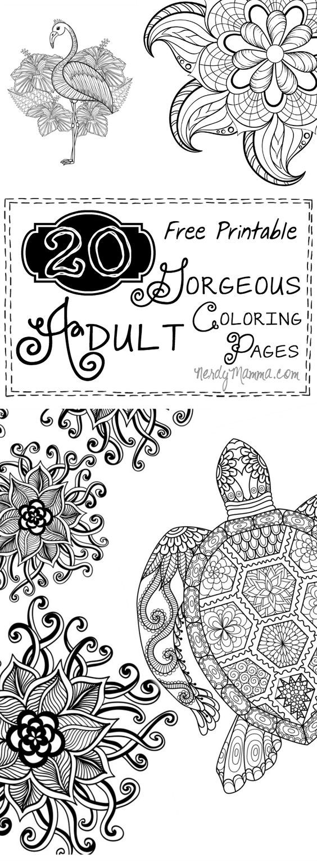 20 Free Printable GORGEOUS Adult Coloring Pages // 20 páginas para colorear para adultos