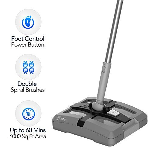 Electric Floor Sweeper- Rechargeable Cordless Floor Sweeper w/ Ergonomic Handle & Double Powerful Brushes, Up to 60 Minutes, Electric Broom Perfect for Home Office Hard/Bare Floor Cleaning - Modern House Cleaning Tool - A Must Buy for Every House Wife/Husband Whether sweeping up crumbs from under a table, tidying up after children or quickly cleaning before and during a party, the Light 'n' Easy Cordless Electric Sweeper will help you spend less time cleaning and more time doing the ...