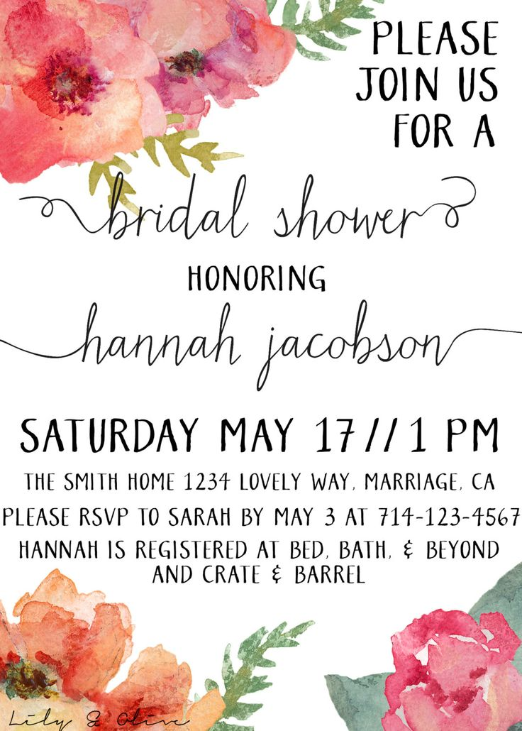 watercolor flowers bridal shower invitation by lilyandolivedesigns 2000