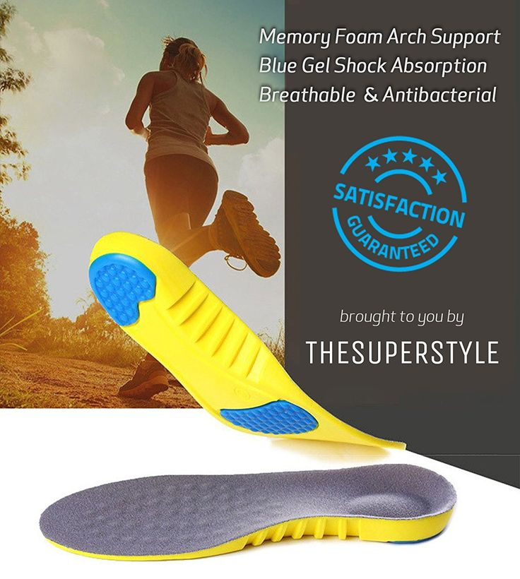 Memory Foam Shoe Insoles | Arch Support Orthopedic Insoles | Blue Gel Shock Absorption Unisex Insoles | Breathable & Size adjustable $12.99 @ https://thesuperstyle.com $12.99 Memory Foam Shoe Insoles | Arch Support Orthopedic Insoles | Blue Gel Shock Absorption Unisex Insoles | Breathable & Size adjustable Materials: Blue Silicone Gel Senior Velvet PU Memory Foam Thickness: Forefoot  0.4 cm, heel 1 cm Care methods:  Wash with water, Dry naturally Material Functions:  Breathable Absorbs sweat…