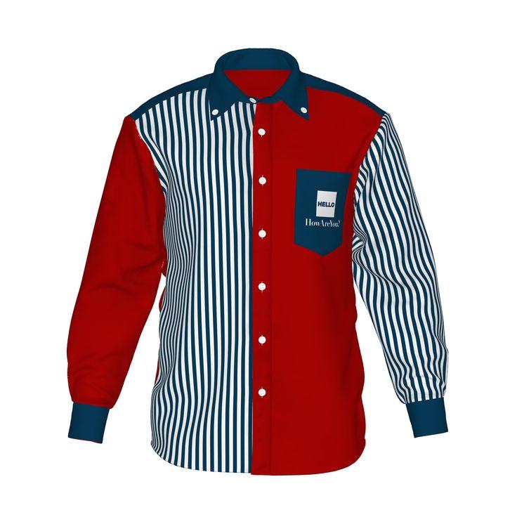 ●視線を集めるレッドと白紺ストライプ。●カラーの存在感が際立つ、ストライプ柄と組み合わせたアシンメトリーデザイン。●メンズ・レディース問わず着用していただけるデザイン。■「Hello」は『制服でも、ユニフォームでも、タウンファッションでも。演出シーンはあなた次第。』がコンセプト。■襟・袖・ポケットにアクセントカラーを使用した「HELLO」の「Accent」シリーズ。/HELLO Accent03 RED - 赤×紺ストライプ - HELLO