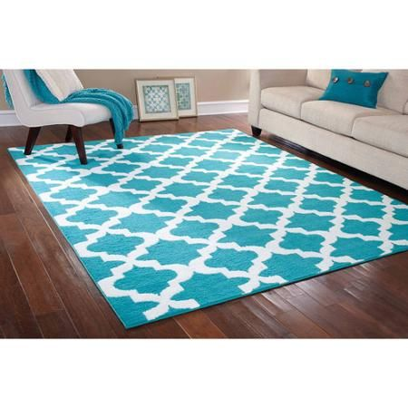 """9'5""""x 7'5"""" Mainstays Rug in a Bag Quatrefoil Area Rug, Teal/White $89 at Walmart (smaller size 5'5""""x 3'75"""" = $29)"""