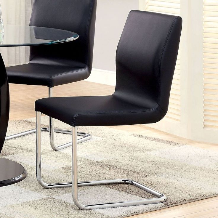 Furniture of America Damore Contemporary Padded Leatherette Dining Chair - IDF-3825BK-SC