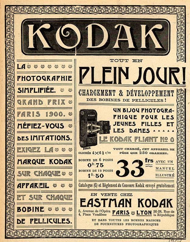Publicité Kodak publiée dans un magazine français, dans les années 1900.