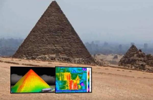 Une mystérieuse anomalie de chaleur détectée à l'aide d'un capteur infrarouge sur la Pyramide de Khéops, novembre 2015 Découverte dans des photos prises en Egypte cette semaine, cette anomalie concerne trois blocs de pierre qui se trouvent à la base de la pyramide. Côté est, au niveau du sol, les chercheurs ont en effet mesuré, en phase de réchauffement de la pyramide, une différence de température allant jusqu'à 6°C entre deux blocs voisins.